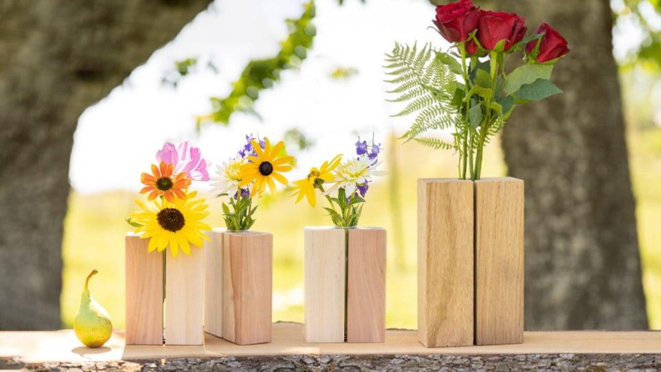 Unsere handgemachten Holzvasen