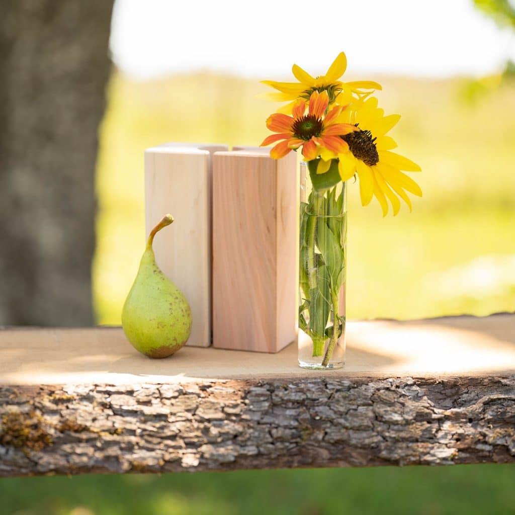 handgemachte Holzvase
