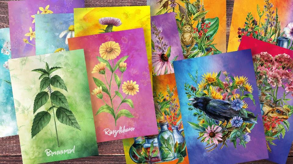 Unsere ersten eigenen Postkarten sind da: Wildkräuter und Kräuterhexe