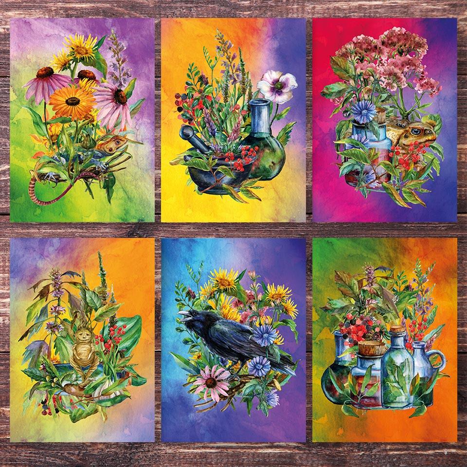 Postkarte mit dem Thema Kräuterhexe