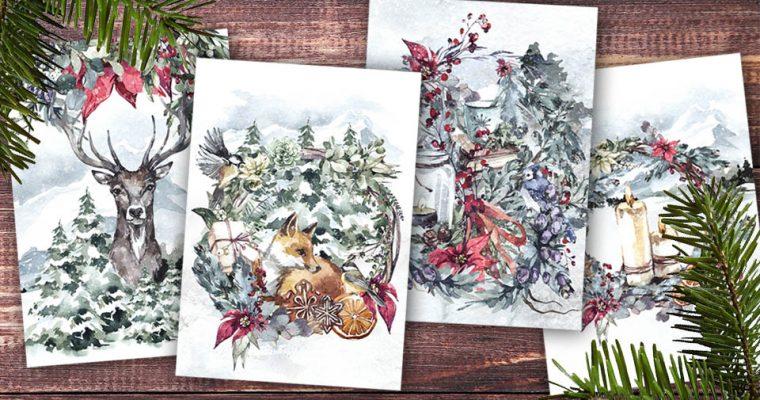 Selbstgestaltete Weihnachtskarten mit winterlichen Naturmotiven aus dem Wald