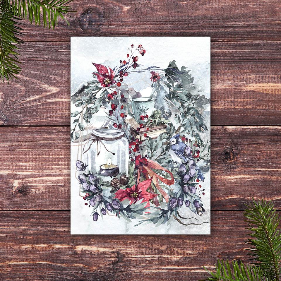 Weihnachtskarte mit dem Motiv Lesestunde
