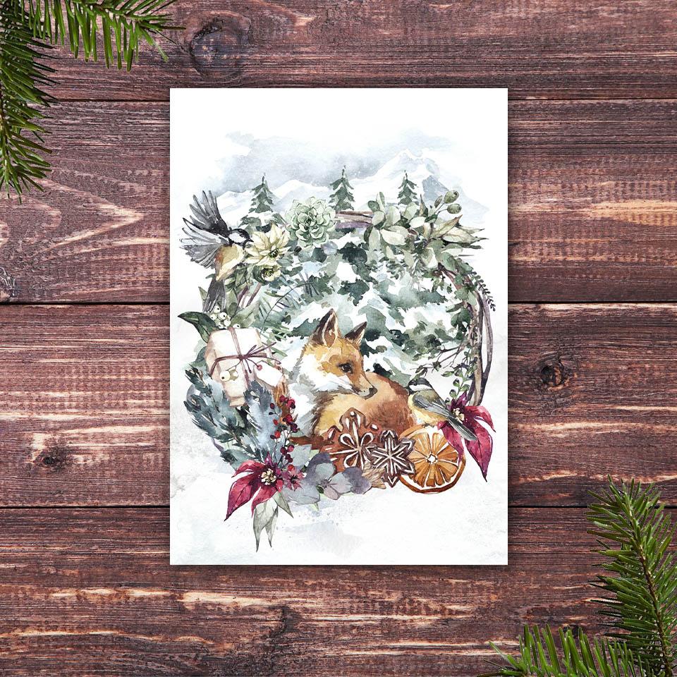 Weihnachtskarte mit dem Motiv junger Fuchs