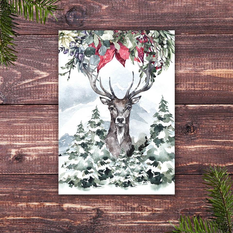 Weihnachtskarte mit dem Motiv Hirsch