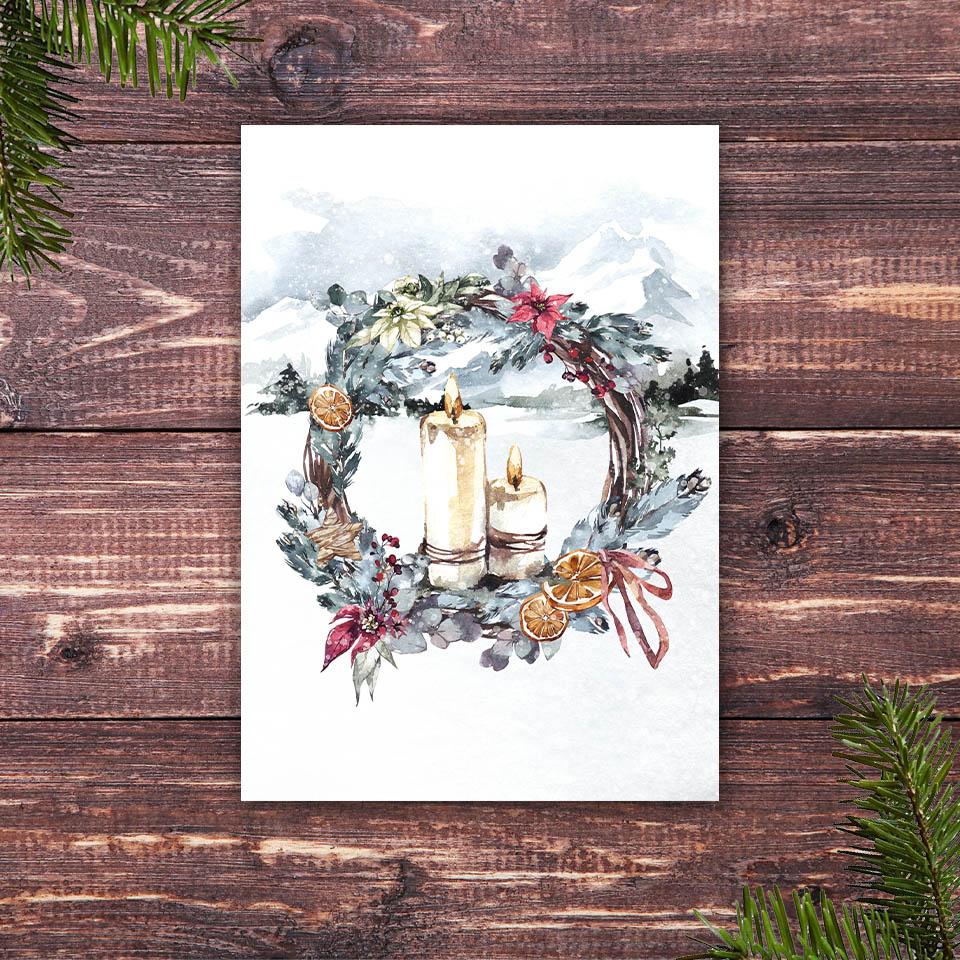 Weihnachtskarte mit dem Motiv Kerzen